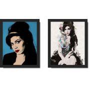 Quadros Decorativos Pop Art Amy Winehouse 2 peças