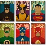 Quadros Decorativos Super-Heróis 6 peças