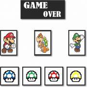 Quadros Decorativos Super Mario 8 peças