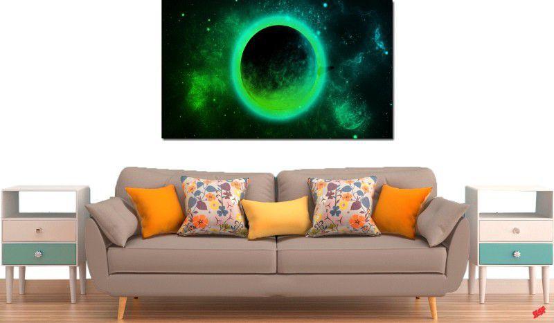 Quadro decorativo para quarto e sala lua verde 1 peça