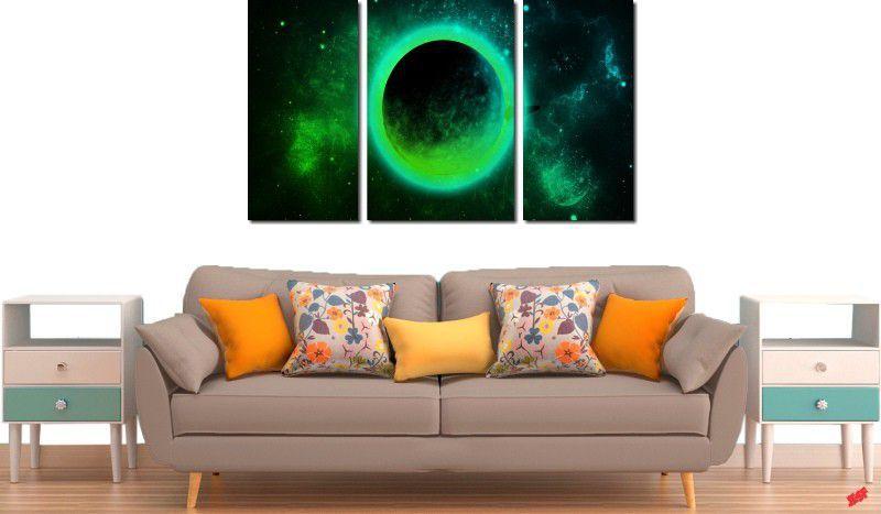 Quadro decorativo para quartos e salas lua verde 3 peças
