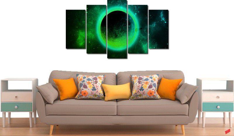 Quadro decorativo para quartos e salas lua verde 5 peças
