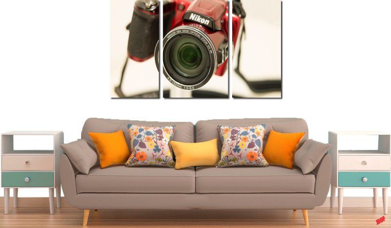 Quadro decorativo para quartos e salas maquina fotográfica nikon 3 peças