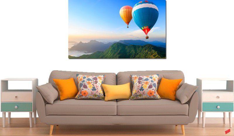 Quadro decorativo para quarto e sala paisagem baloes 1 peça