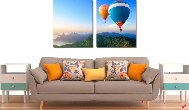 Quadro decorativo para quartos e salas paisagem baloes 2 peças