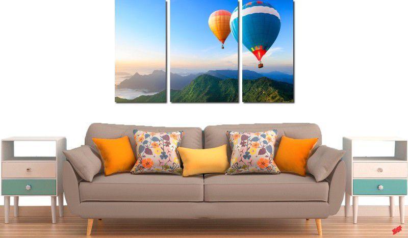 Quadro decorativo para quartos e salas paisagem baloes 3 peças
