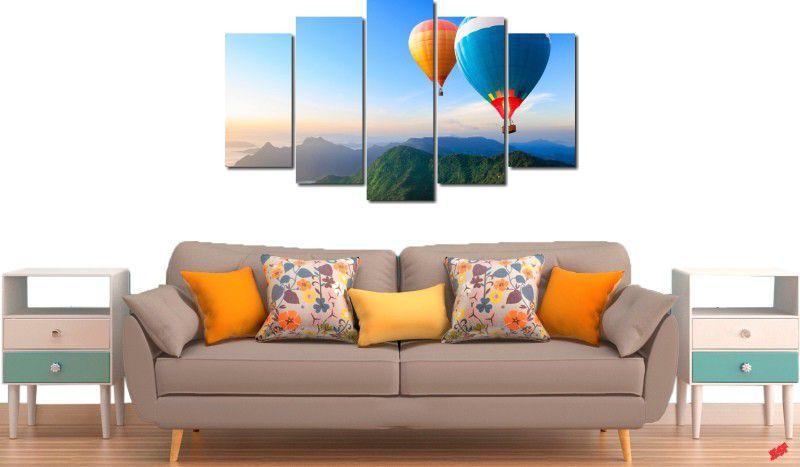 Quadro decorativo para quartos e salas paisagem baloes 5 peças