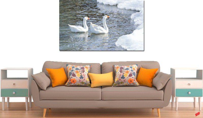 Quadro decorativo lago com cisne para quarto e sala 1 peça