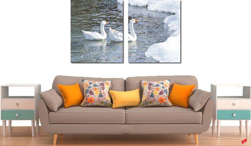 Quadro decorativo lago com cisne para quartos e salas 2 peças