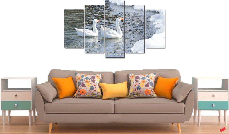 Quadro decorativo lago com cisne para quartos e salas 5 peças