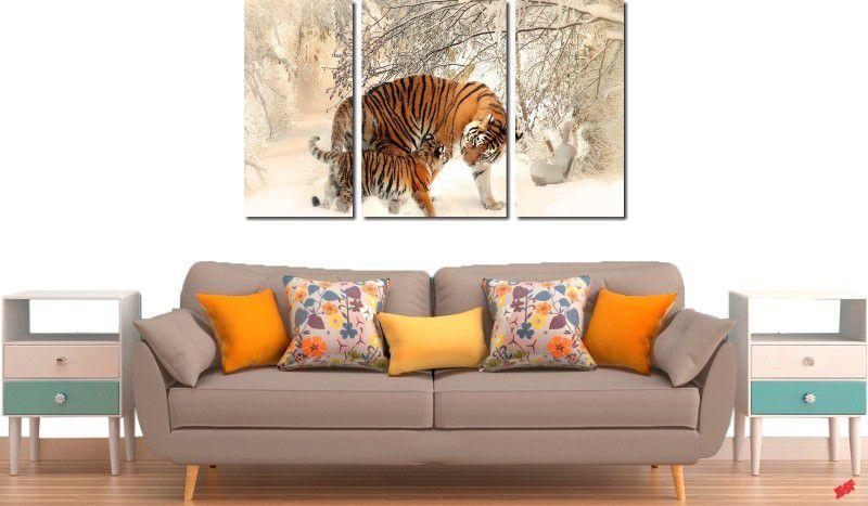 Quadro decorativo tigre na neve para quartos e salas 3 peças