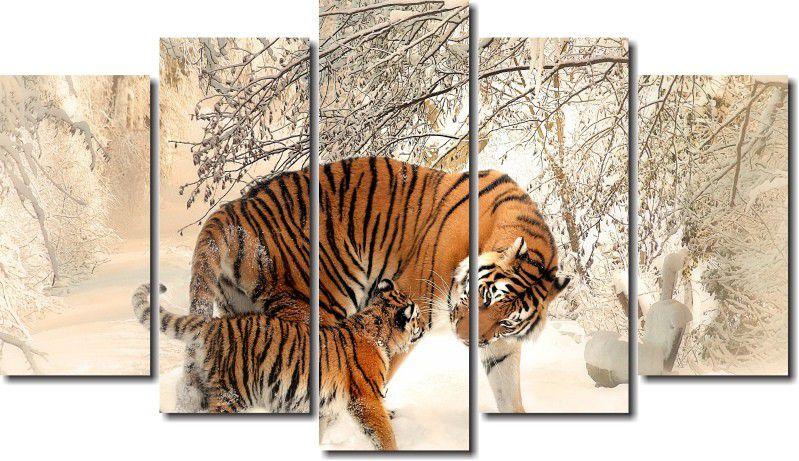 Quadro decorativo tigre na neve para quartos e salas 5 peças