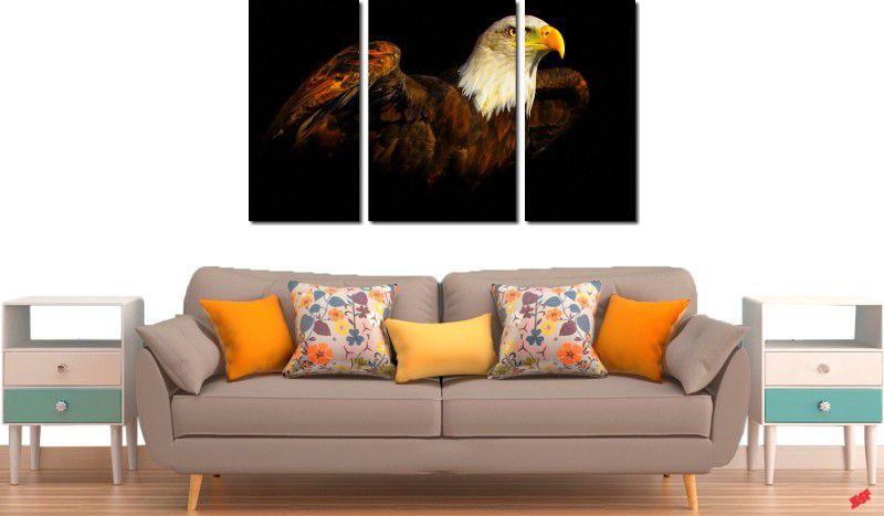 Quadro decorativo paisagem pássaro águia para quartos e salas 3 peças