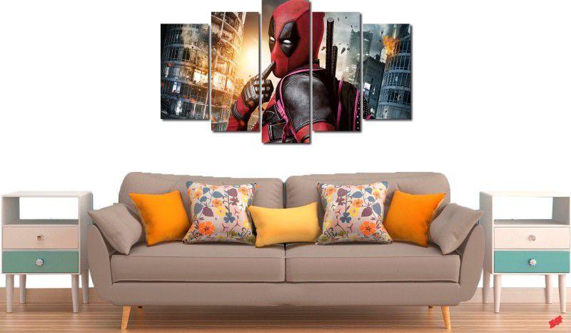Quadro decorativo filme deadpool para quartos e salas 5 peças