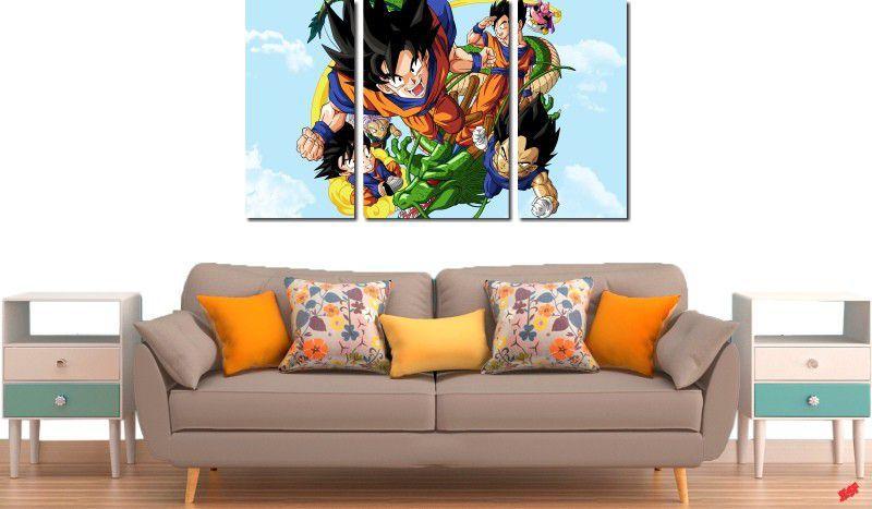 Quadro Decorativo Dragon Ball  Z Goku Super Sayajin  3 peças m8