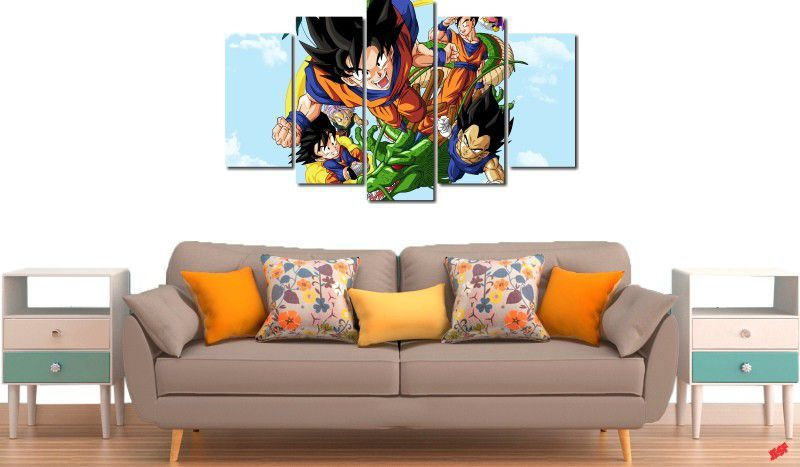 Quadro Decorativo Dragon Ball  Z Goku Super Sayajin  5 peças m8