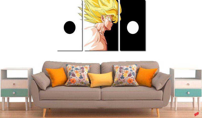 Quadro Decorativo Dragon Ball  Z Goku Super Sayajin  3 peças m10