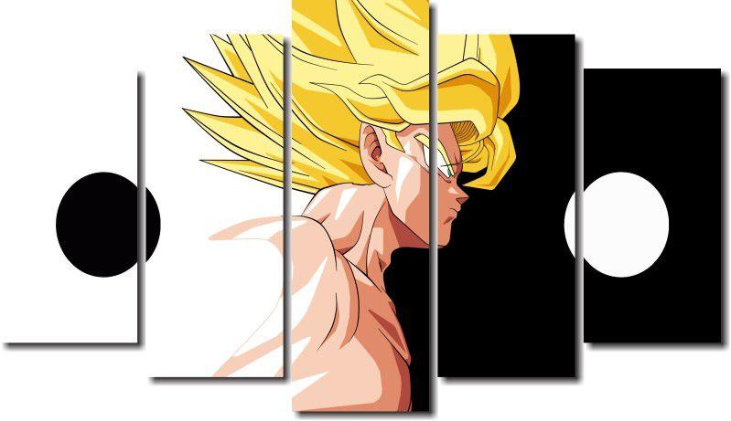 Quadro Decorativo Dragon Ball  Z Goku Super Sayajin  5 peças m10