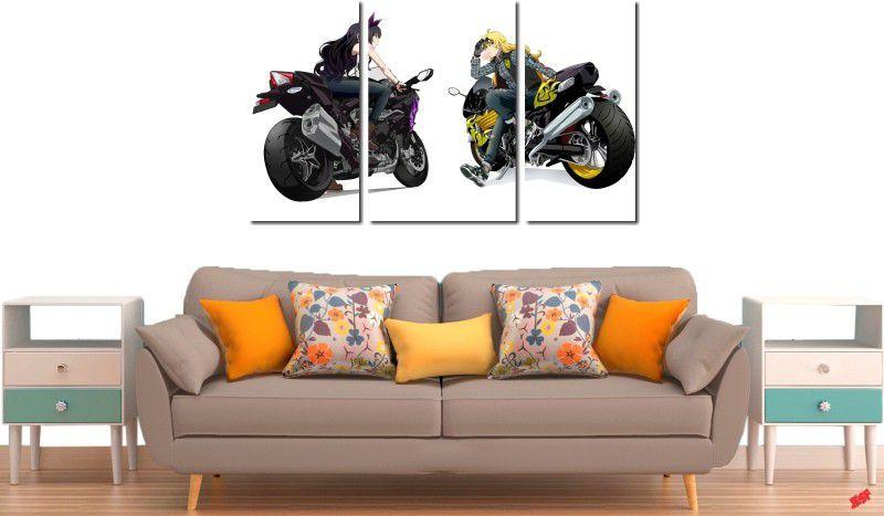 Quadro decorativo paisagem moto para quartos e salas 3 peças