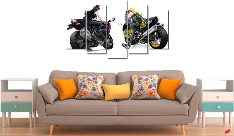 Quadro decorativo paisagem moto para quartos e salas 5 peças