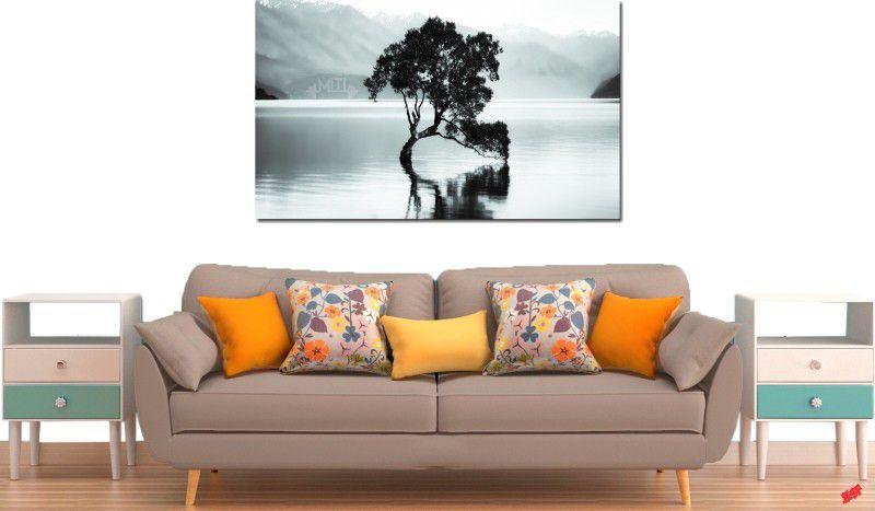 Quadro decorativo paisagem lago com arvore antiga para quarto e sala 1 peça