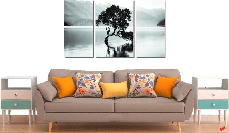 Quadro decorativo paisagem lago com arvore antiga para quartos e salas 3 peças
