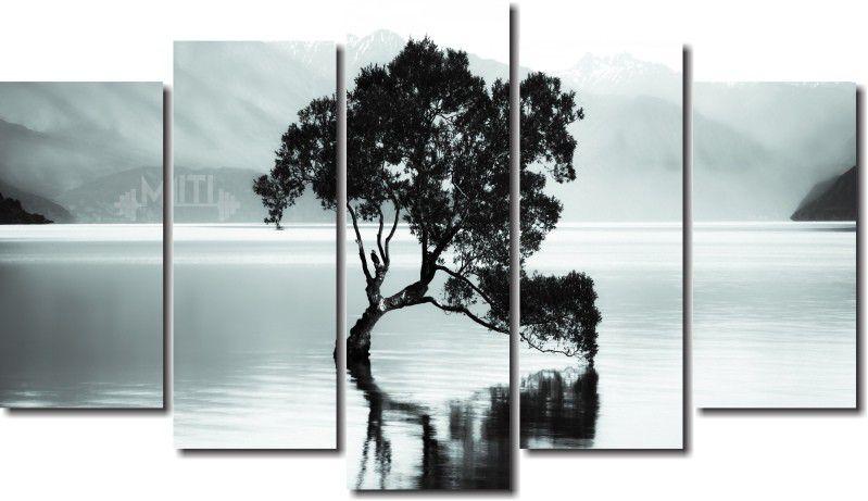 Quadro decorativo paisagem lago com arvore antiga para quartos e salas 5 peças