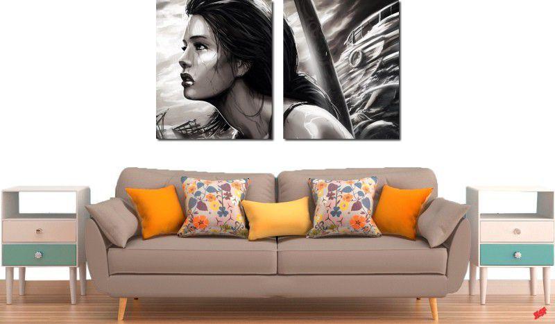 Quadro decorativo para quartos e salas mulher chorando 2 peças
