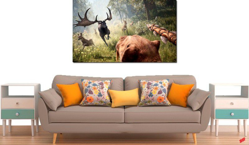 Quadro decorativo para quarto e sala paisagem animais 1 peça
