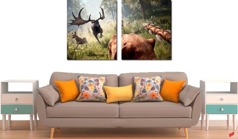 Quadro decorativo para quartos e salas paisagem animais 2 peças