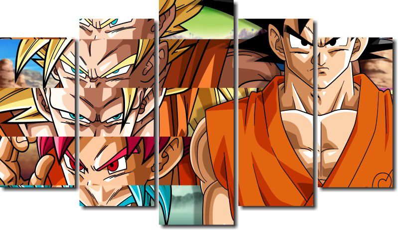 Quadro Decorativo Dragon Ball  Z Goku Super Sayajin  5 peças m13