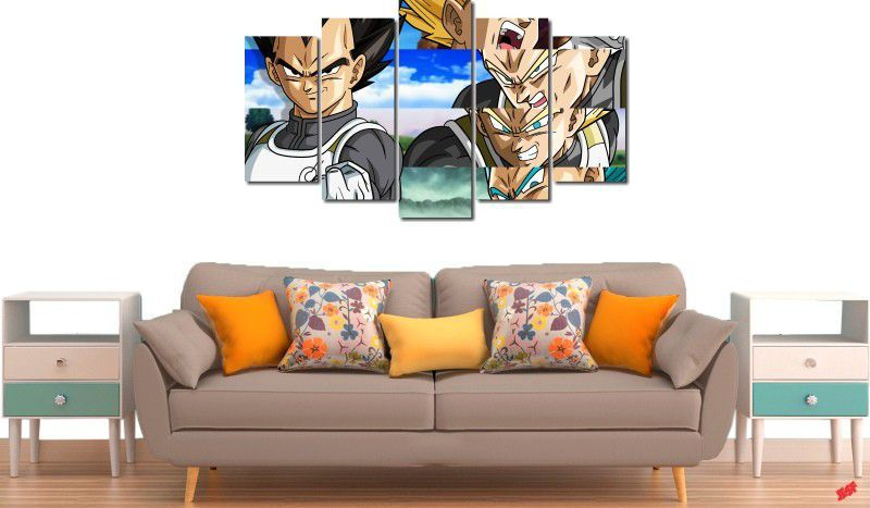 Quadro Decorativo Dragon Ball  Z Goku Super Sayajin  5 peças m14