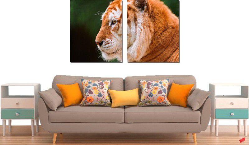 Quadro decorativo para quarto e sala tigre amarelo 2 peças