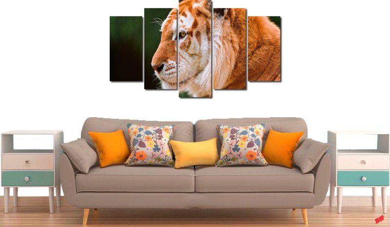 Quadro decorativo para quarto e sala tigre amarelo 5 peças