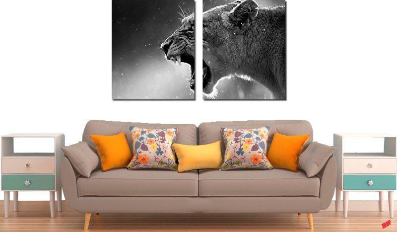 Quadro decorativo para quarto e sala animal onça 2 peças