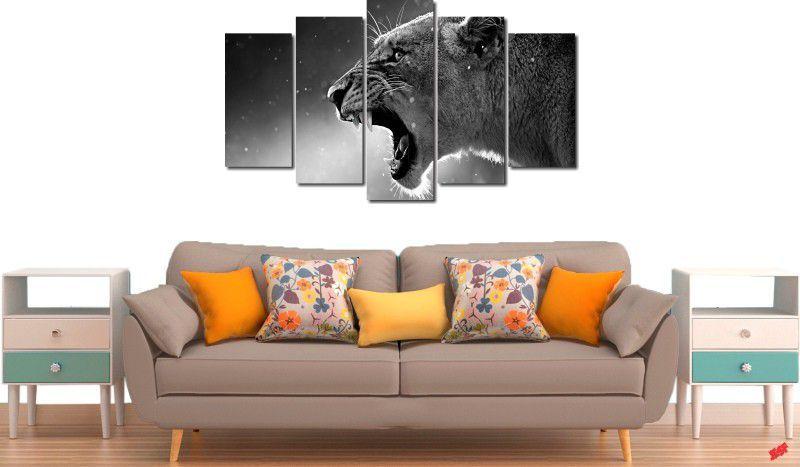 Quadro decorativo para quarto e sala animal onça 5 peças