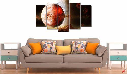 Quadro Decorativo Paisagem Lua Vermelha 5 Peças