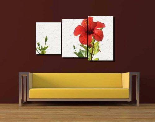 - Quadro Decorativo Hibisco Vermelho 3 Peças Para Sala