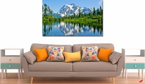 Quadro Decorativo Paisagem Lago Com Montanhas 1 Peça