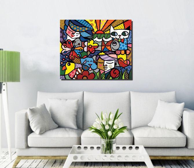 Quadro Romero Britto Garden 90x90 cm