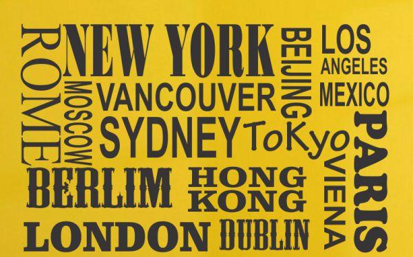 Adesivo De Parede Decorativo NOMES Cidades Famosas Do Mundo Viagem