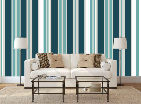 papel parede listras azul com verde