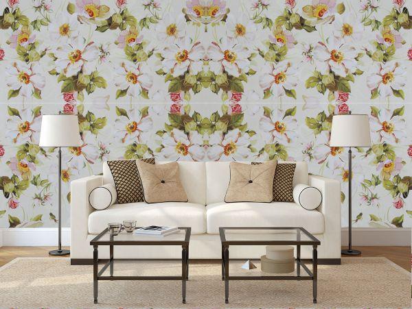 papel parede flores brancas