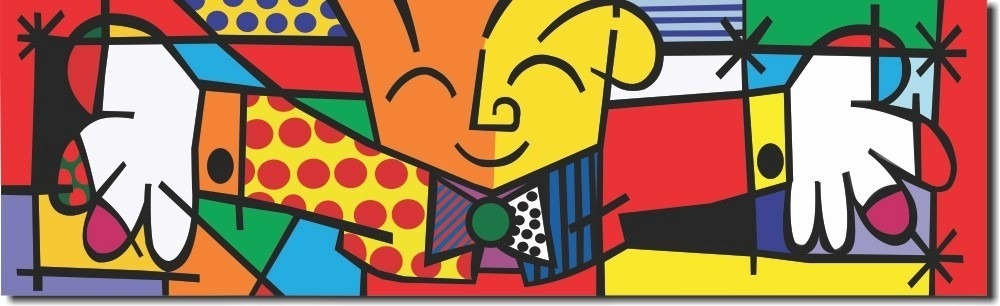 Quadro Decorativo Romero Britto The Hug O Abraço 30x100