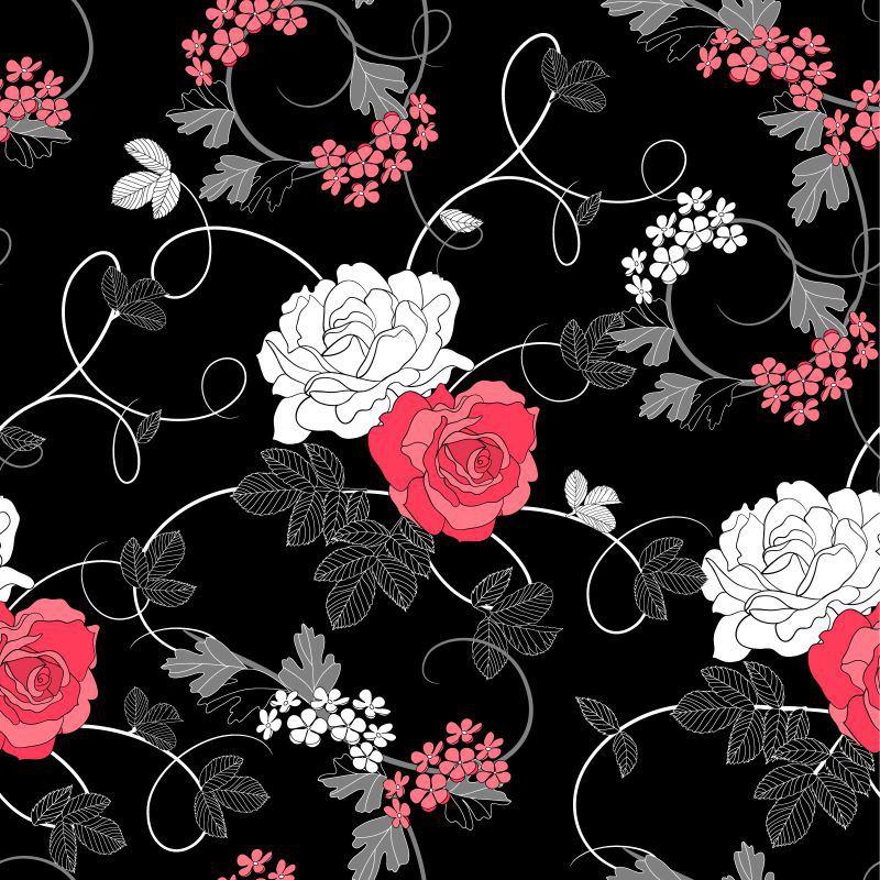 Papel Parede Rosas fundo Preto