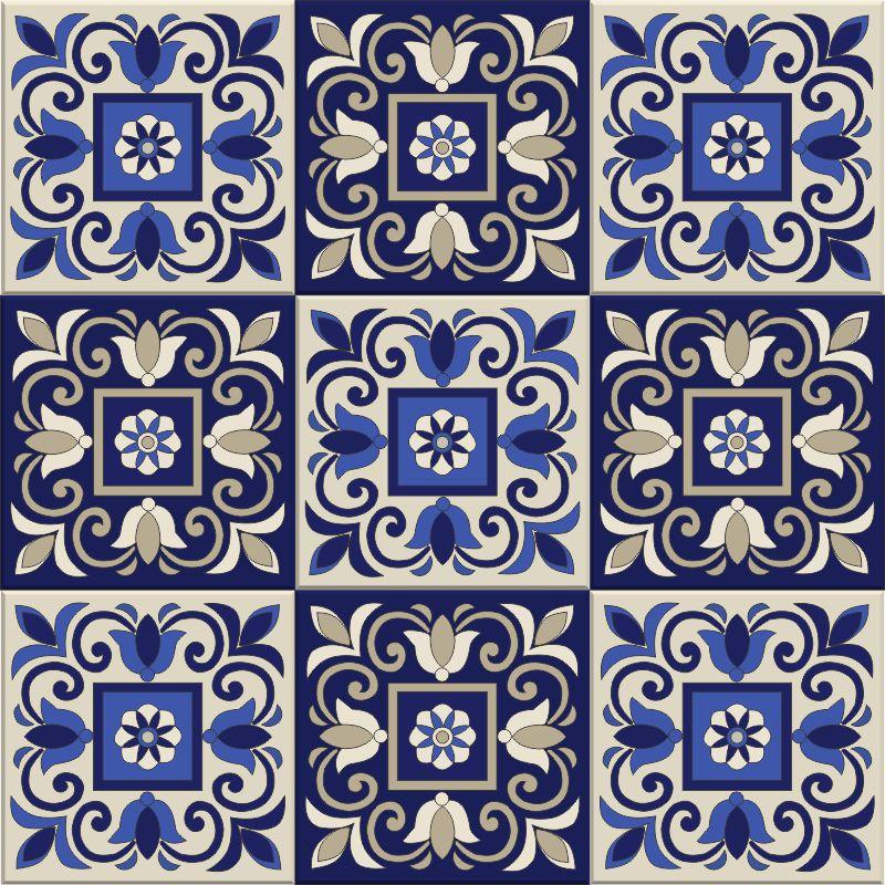 Azulejo de Adesivo Azul