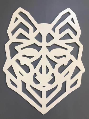 Escultura Parede Quadro Mdf Lobo Designer Mdf 6mm Branco