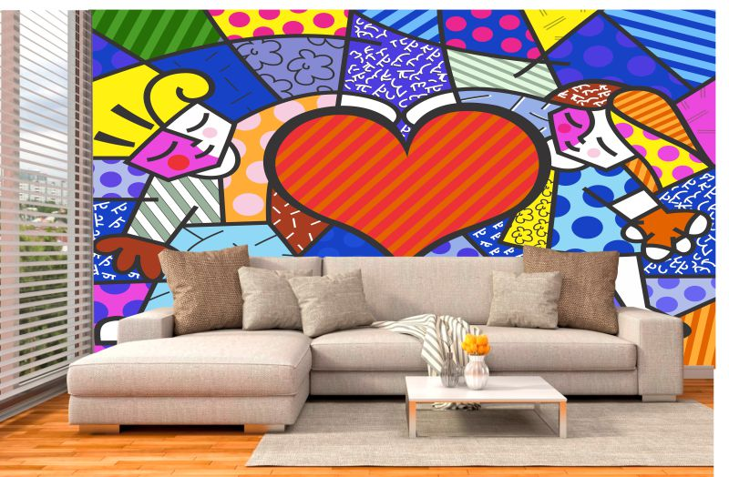 Papel Parede Romero Britto Heart Kids
