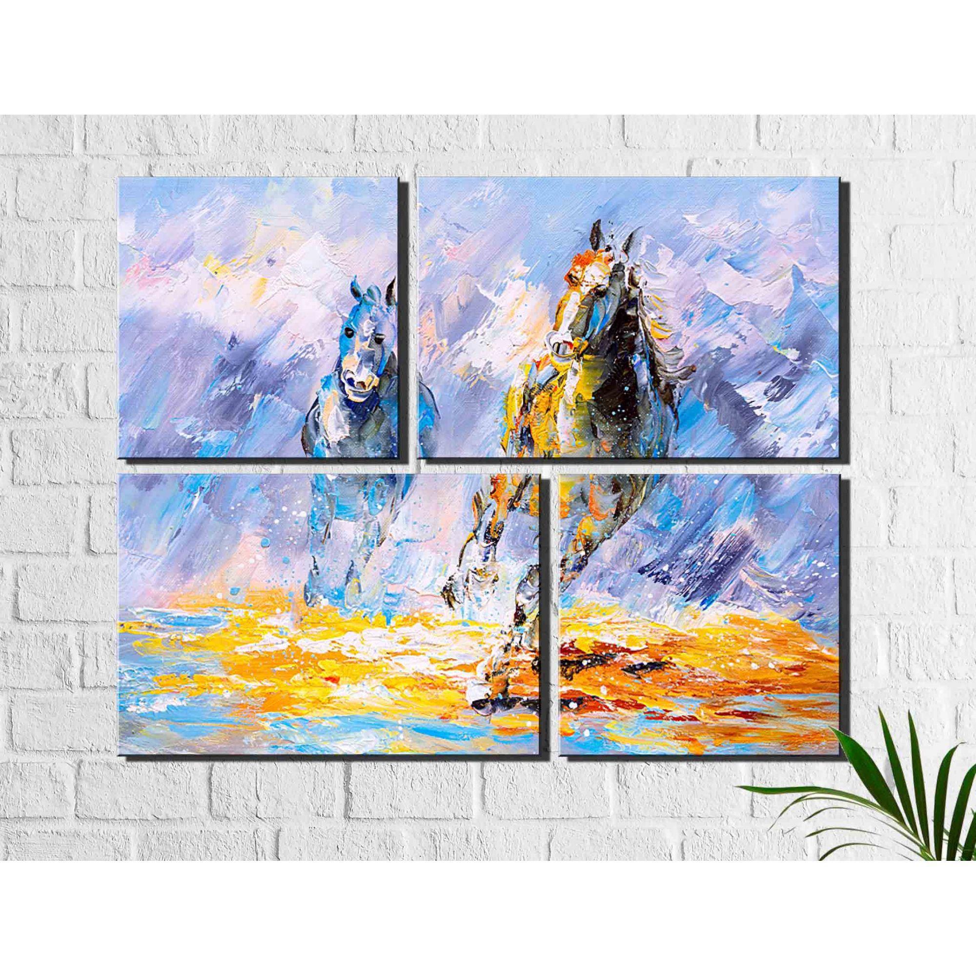 4 Quadros Decorativos Abstrato Espatulado Cavalos