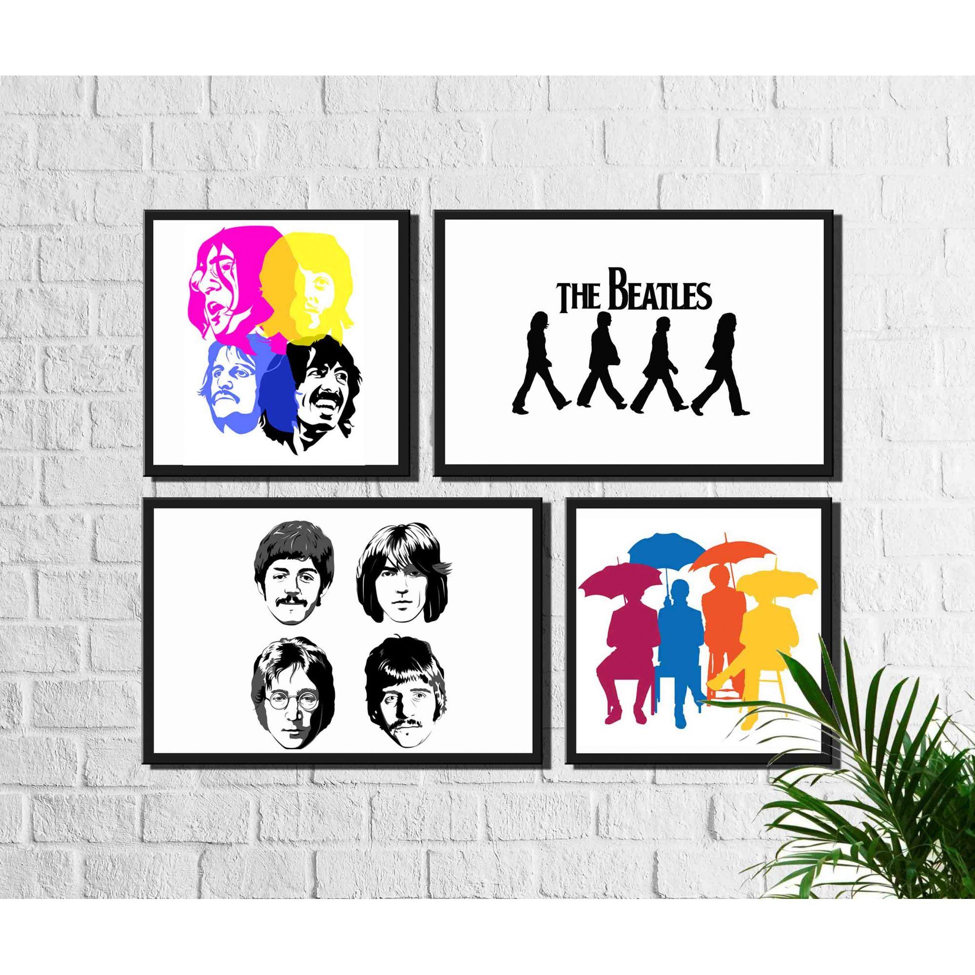 4 Quadros Decorativos Banda Beatles Rock